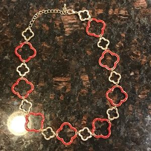 Kohls Jewelry - Gold and Red Quatrefoil Necklace